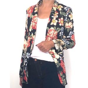 Zara Floral Print Floral Tuxedo Style Jacket
